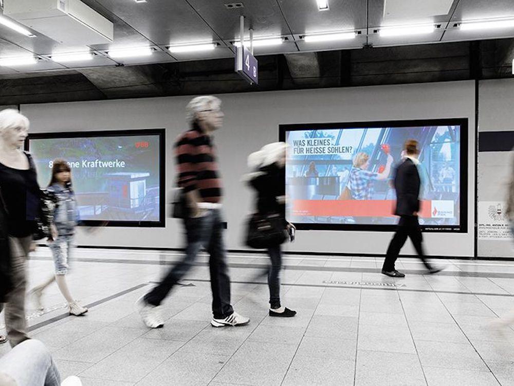 Die Anzahl der ÖBB-Werbescreens soll 2018 drastisch vergrößert werden (Foto: ÖBB Werbung)