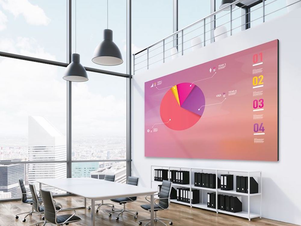 LED Indoor Screen von Optoma in einem Büro (Foto: Optoma)