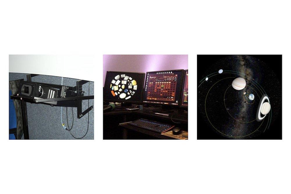 Bislang eingesetz t– Projektor und Steuerpult mit dem Ergebnis auf derLeinwand (Fotos: (Foto: Sternwarte Neanderhöhe Hochdahl))