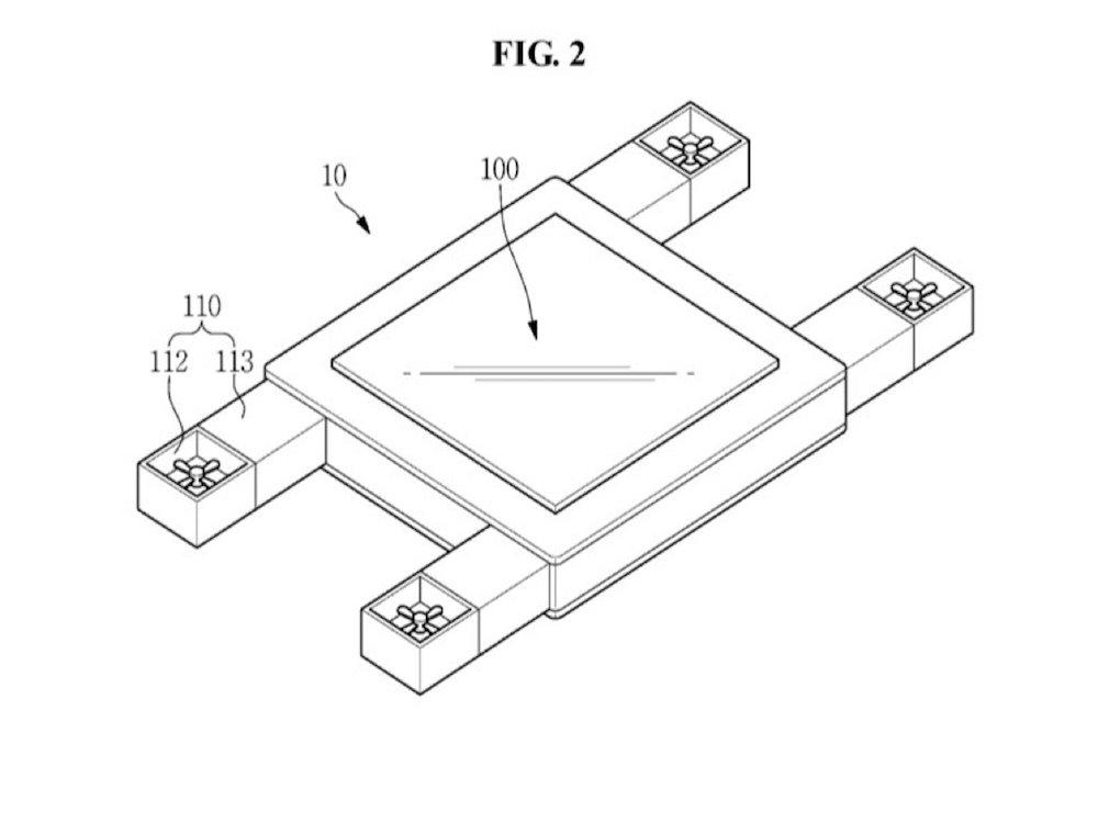 So könnte Samsungs fliegendes Display aussehen (Grafik: Samsung / United States Patent and Trademark Office)