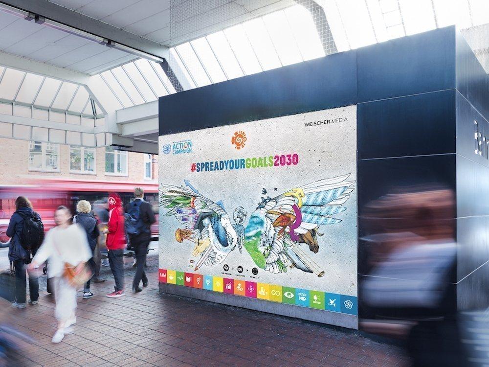 """Mit dem Motiv """"Spread Your Goals"""" wird für die Nachhaltigkeitsziele der UN geworben (Foto: Weischer.Media)"""