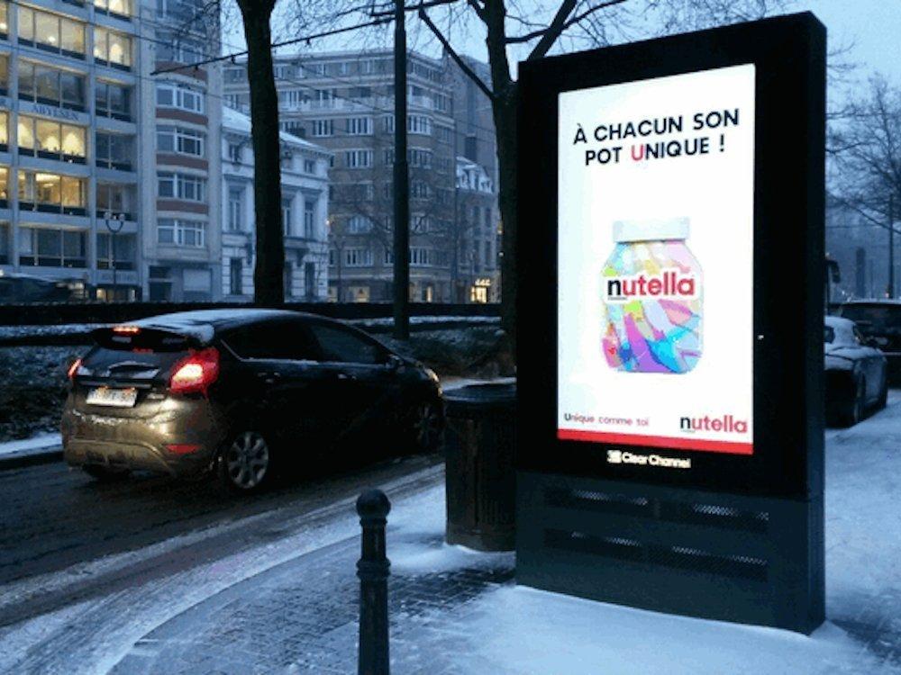 Nutella Belgien nutzte DooH für die aktuelle Kampagne (Foto: Clear Channel Belgium)