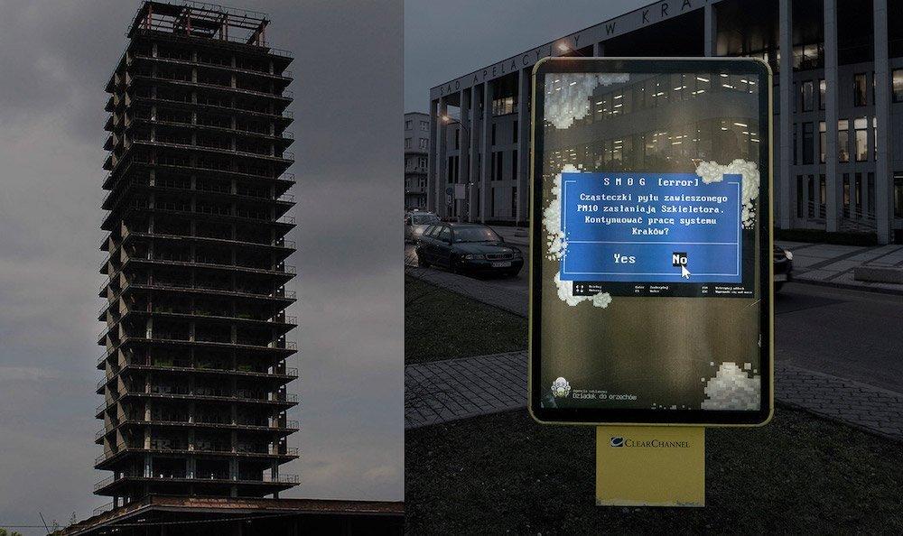 Vom Smog verrußter Rohbau und Kampagne gegen Smog beide in Krakau (Foto: Dziadek Do Orzechow)