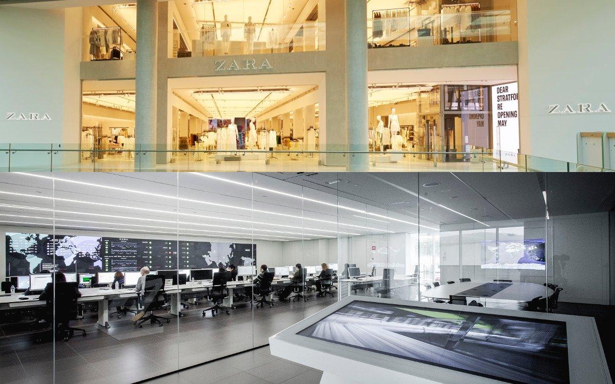Zara Flagship Stratford und Digital Kontrollzentrum Spanien (Fotos. Inditex)