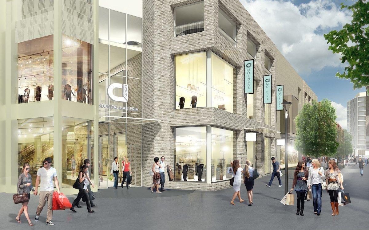 Auch hier werden DooH Screens von Visual Art installiert werden – geplantes Einkaufszentrum in Mölndal (Rendering / Foto: Citycon)