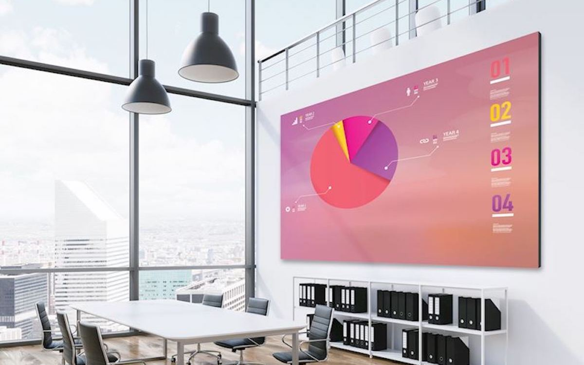 Indoor LED Screen von Optoma in einem Büro (Foto: Optoma)