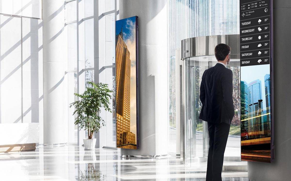 Stretched Screens von LG in der Lobby eines Hochhauses (Foto: LG)