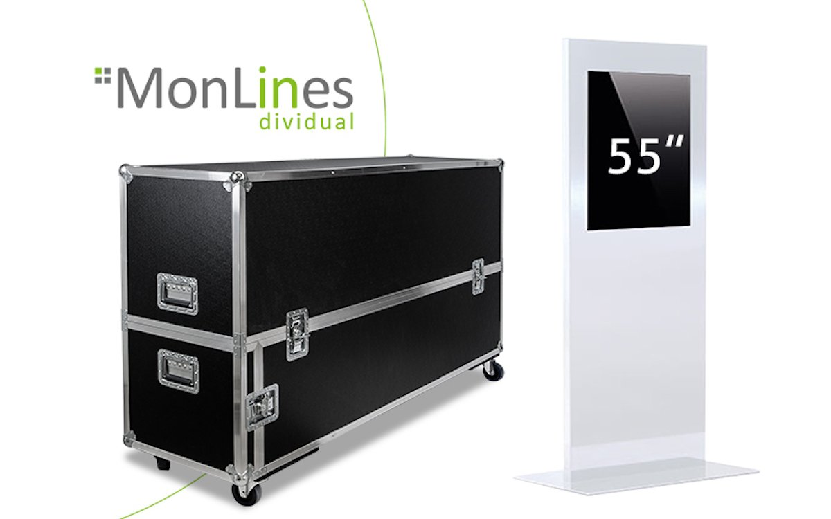 """Transportcase für Stele mit 55"""" Touchscreen (Foto: MonLines)"""