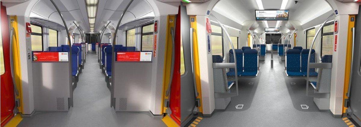 Vorher - Nachher: Die Anzeigen wandern vom Ende des Zuges näher zu den Fahrggästen, größere Anzeigen mit aktuellen Inhalten (Fotos: DB/BEG)