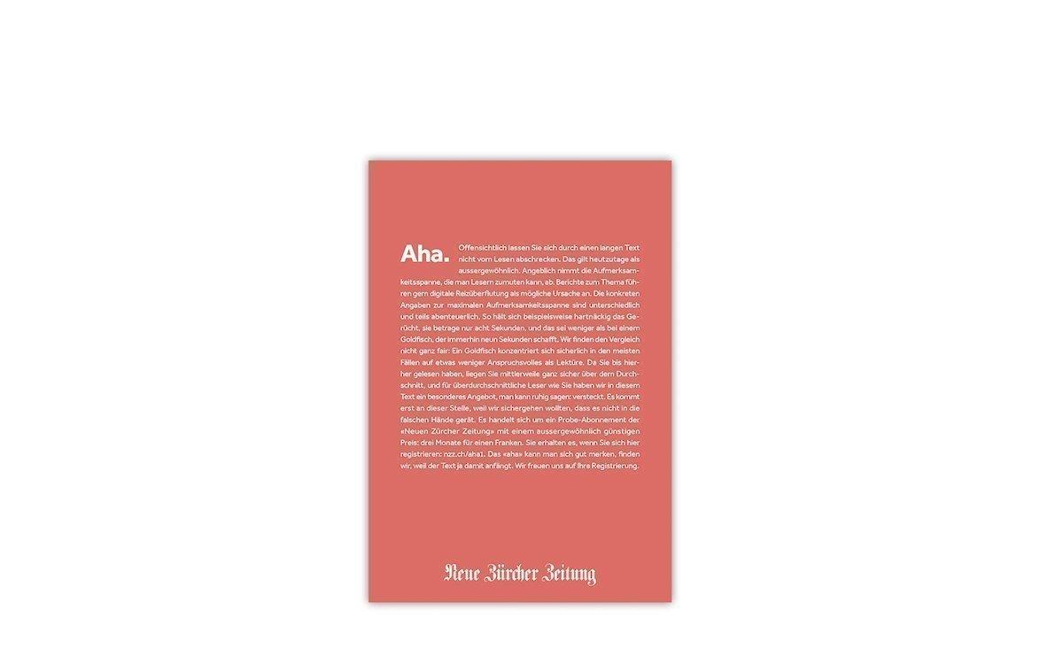 "Plakatmotiv ""Aha"" aus der NZZ-Kampagne (Grafik: Scholz & Friends)"