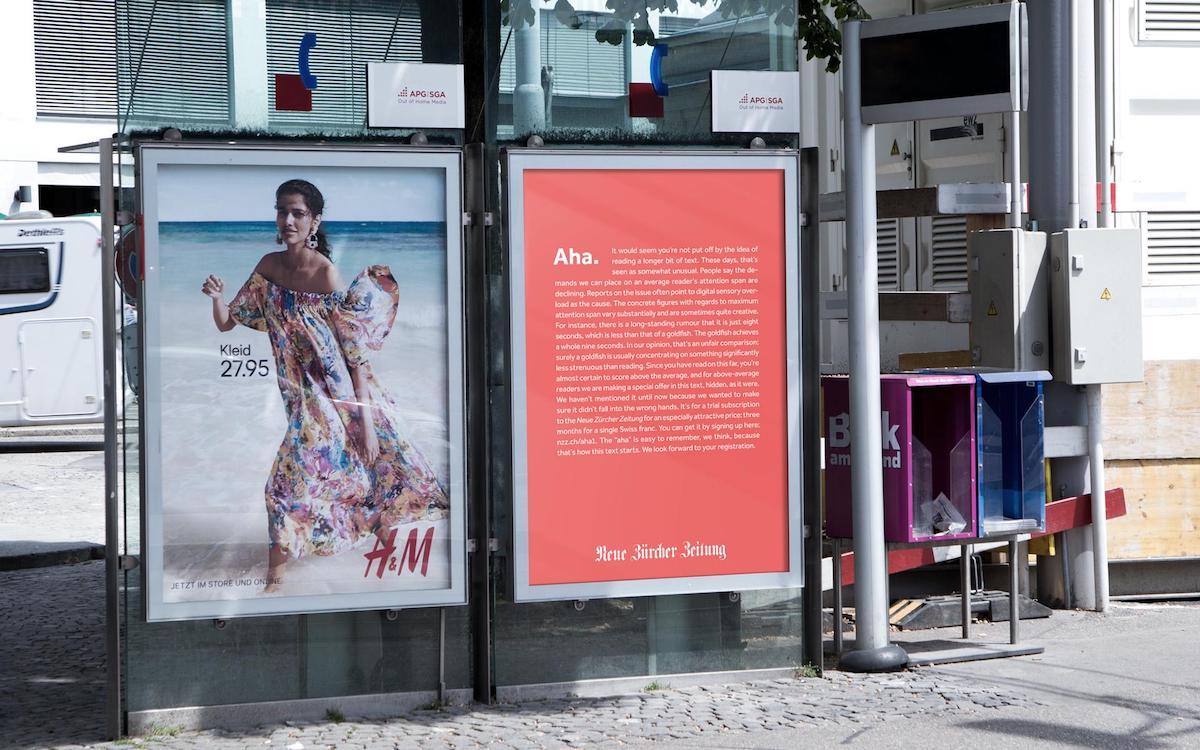Poster der NZZ am Kreuzplatz (Foto: Scholz & Friends)