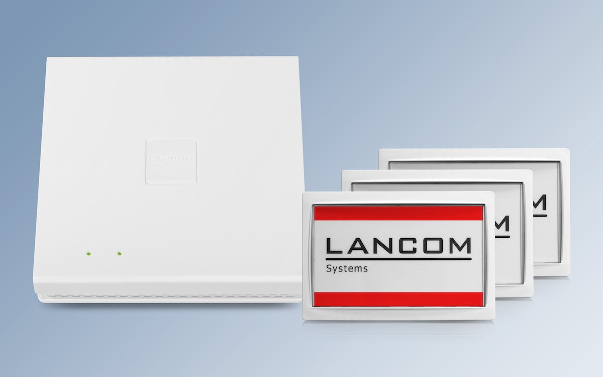 WLAN Access Point der E Serie mit Wireless ePaper Displays (Foto: LANCOM)