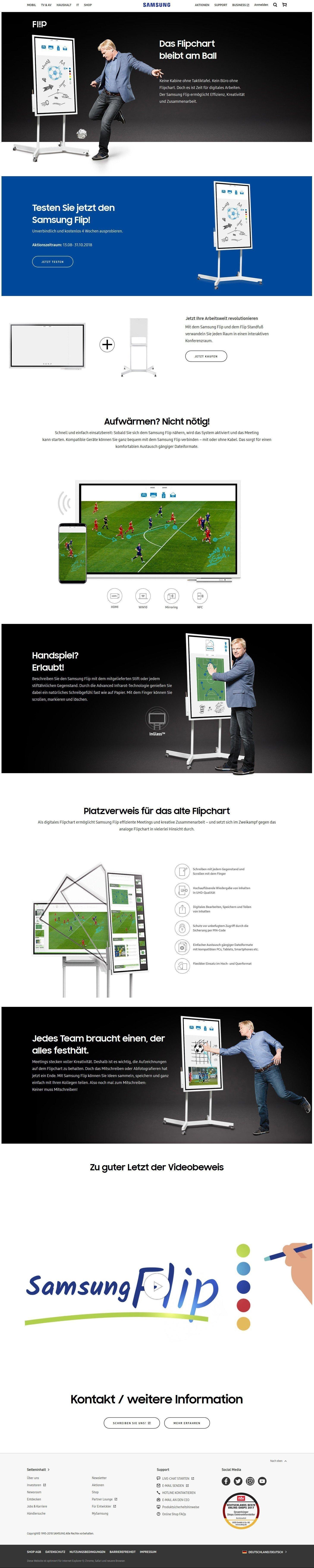 Screenshot der Samsung Flip Oli Kahn Kampagne Website (Foto: Screenshot Samsung)