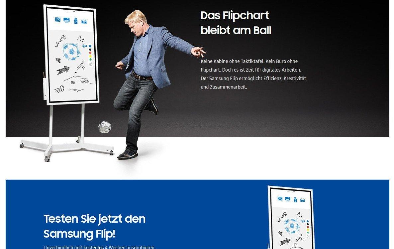 Samsung Flip Kampagne mit Oli Kahn (Foto: Screenshot Samsung Website)