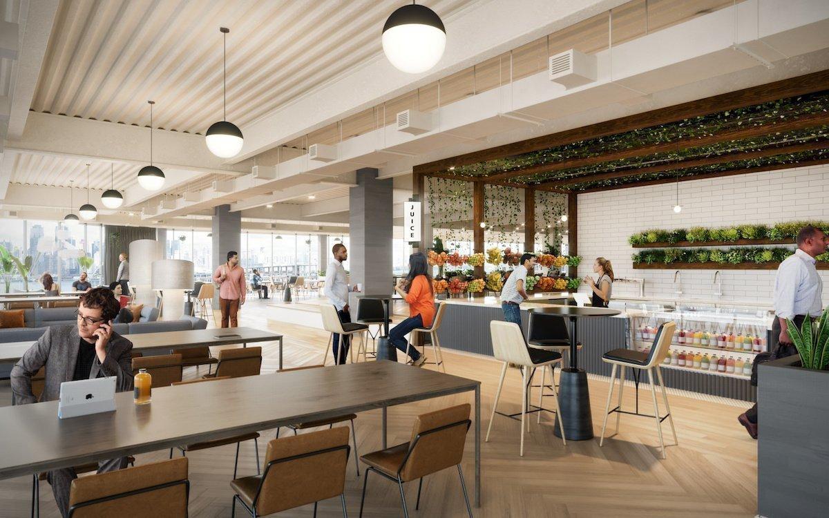 Keine neue In-Gastronomie sondern die geplante Juice Bar bei der UBS in Weehawken (Rendering: WeWork)