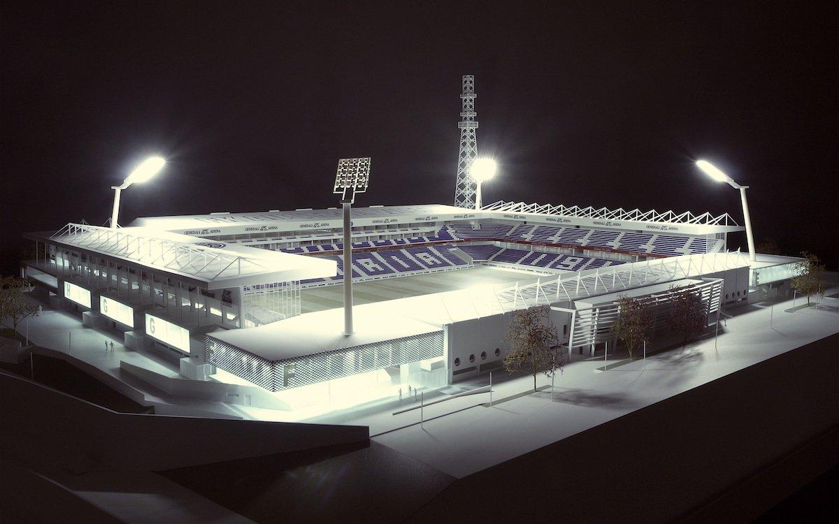 Modell der neuen Generali Arena (Foto / Rendering: Zumtobel)