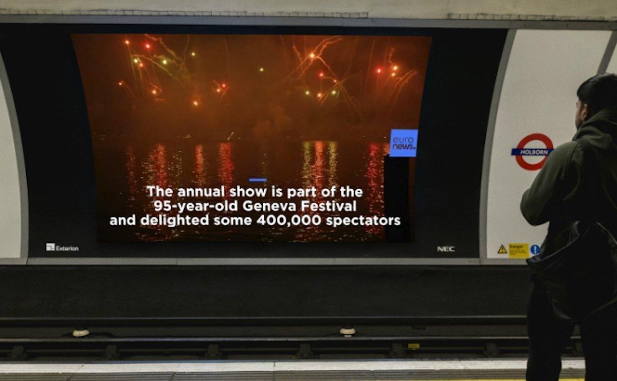 Nachrichten von Euronews laufen nun auf den Projektions-Screens in Londons U-Bahn (Foto: Exterion Media)