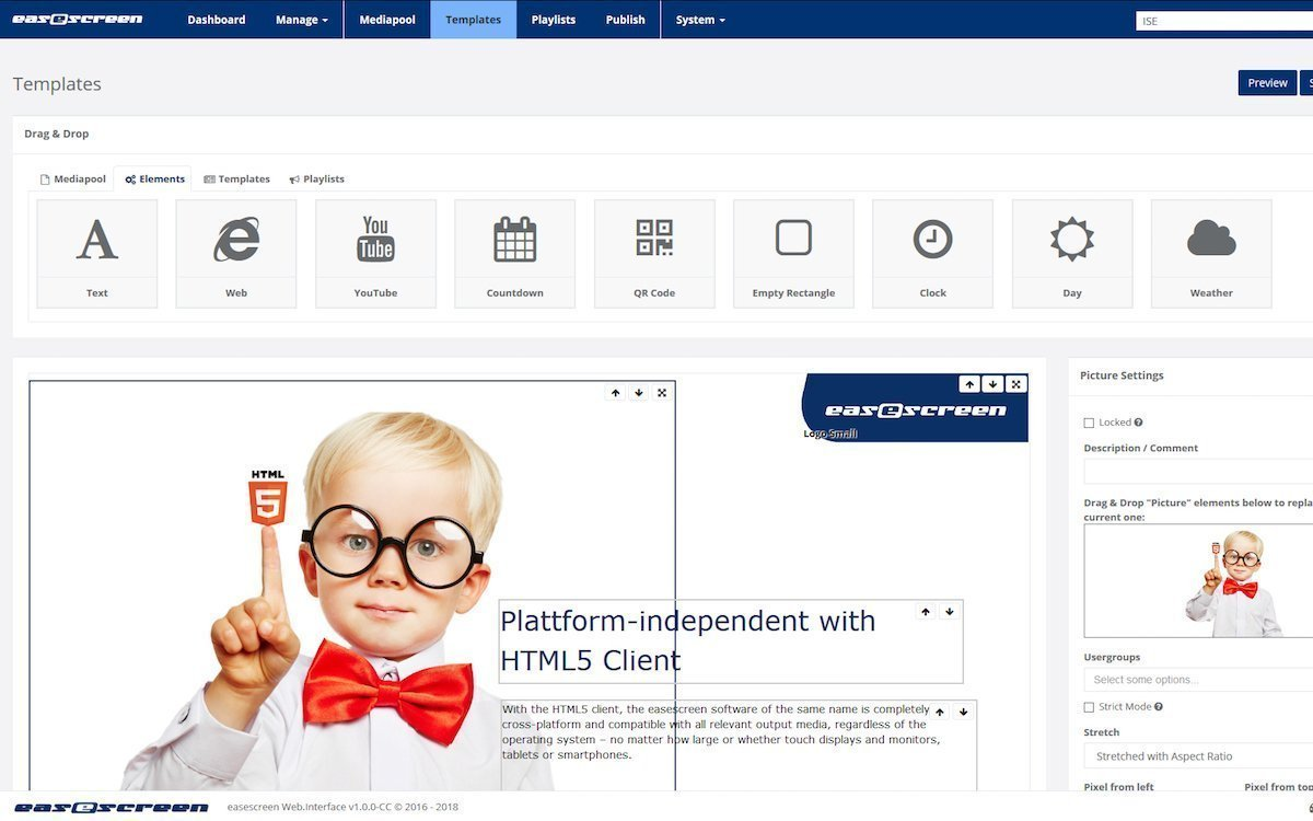 Template-Elemente in der neuen Version von easescreen (Screenshot: Kindermann)