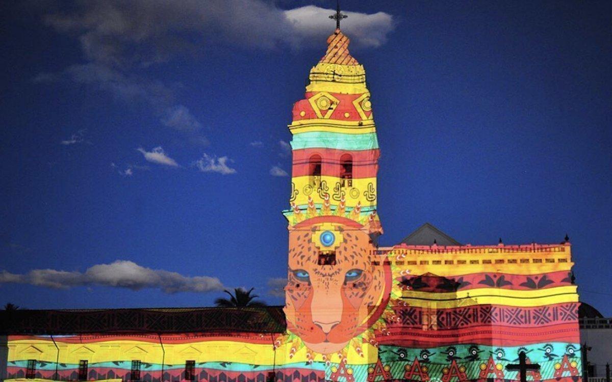 Das Projection Mapping -Event in Ecuador begeisterte mit neuen Kreationen (Foto: Christie)
