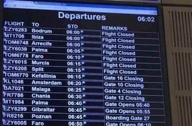 FIDS in Bristol – nach der Attacke konnten die Systeme wieder ans Laufen gebracht werden (Foto: Bristol Airport)