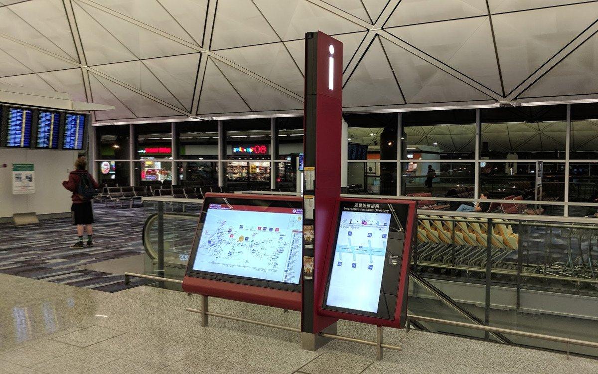 Not a touch screen Hinweis am Flughafen in Hongkong (Foto: invidis)