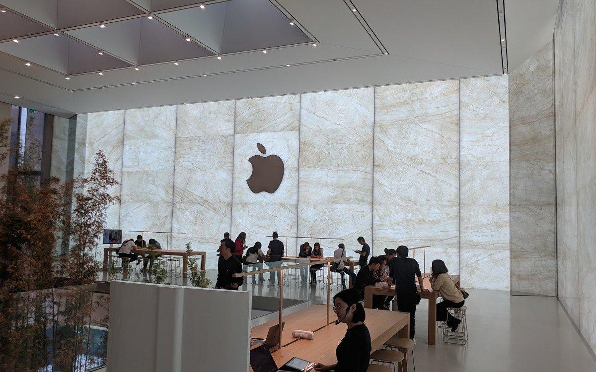 Glas/Marmor-Fassade im ersten Stock - Apple Cotai Central (Foto: invidis)