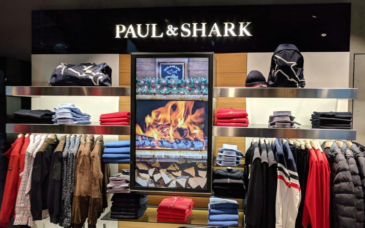 Da wird's warm ums Herz - Digital Signage bei Paul & Shark / Hirmer München (Foto: invidis)