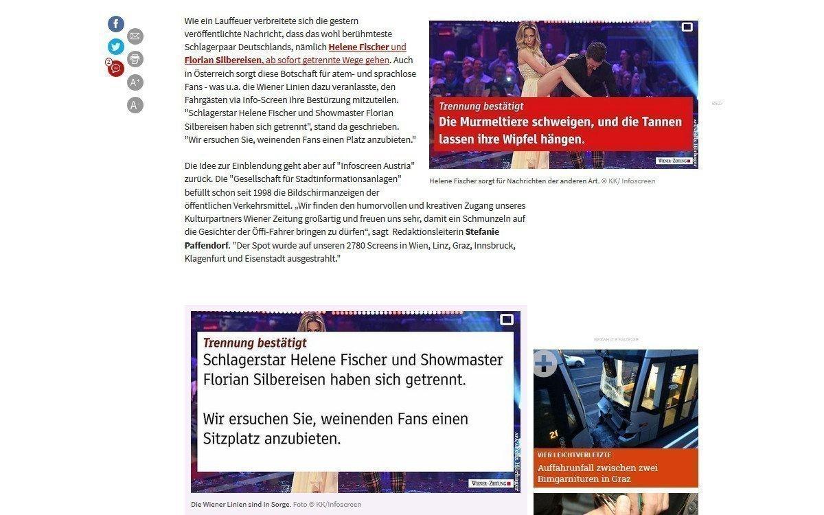 Trauernde Helene Fischer bitte den Platz reimachen (Screenshot: Kleinezeitung.at)