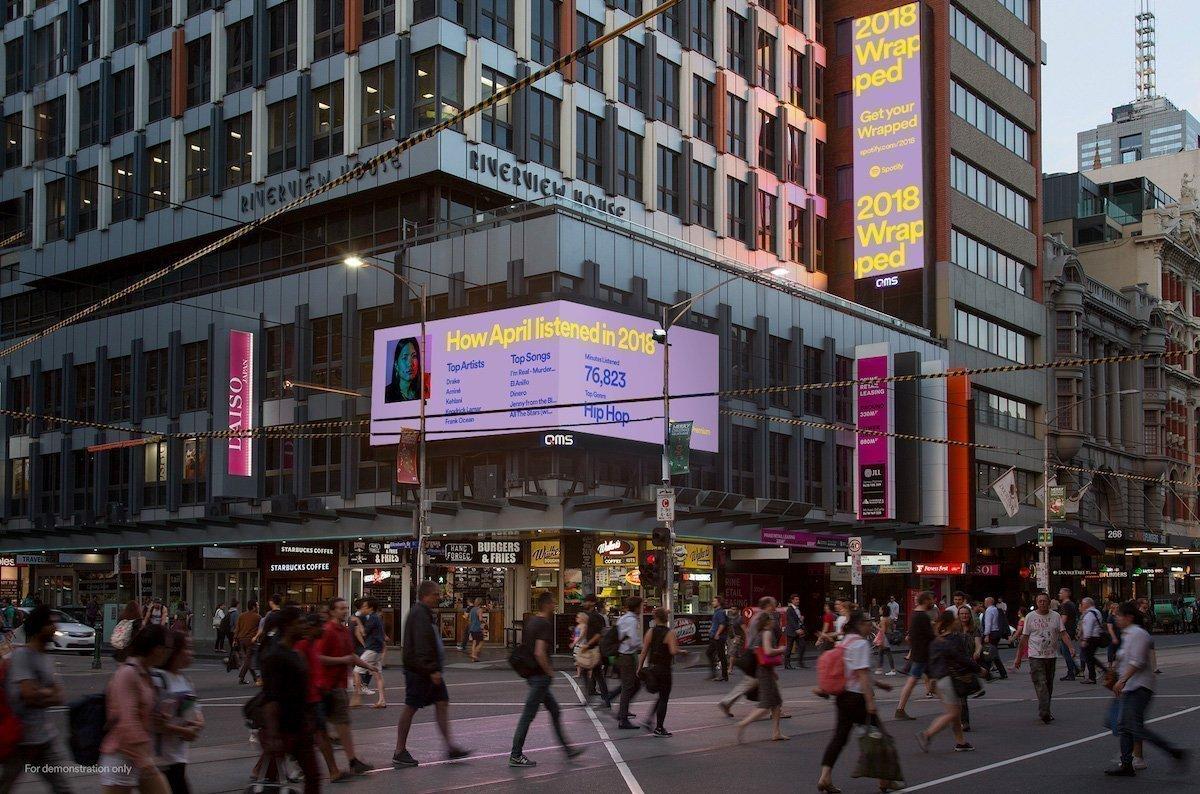 Die Kampagne auf Screens im australischen Melbourne (Foto: Grand Visual)