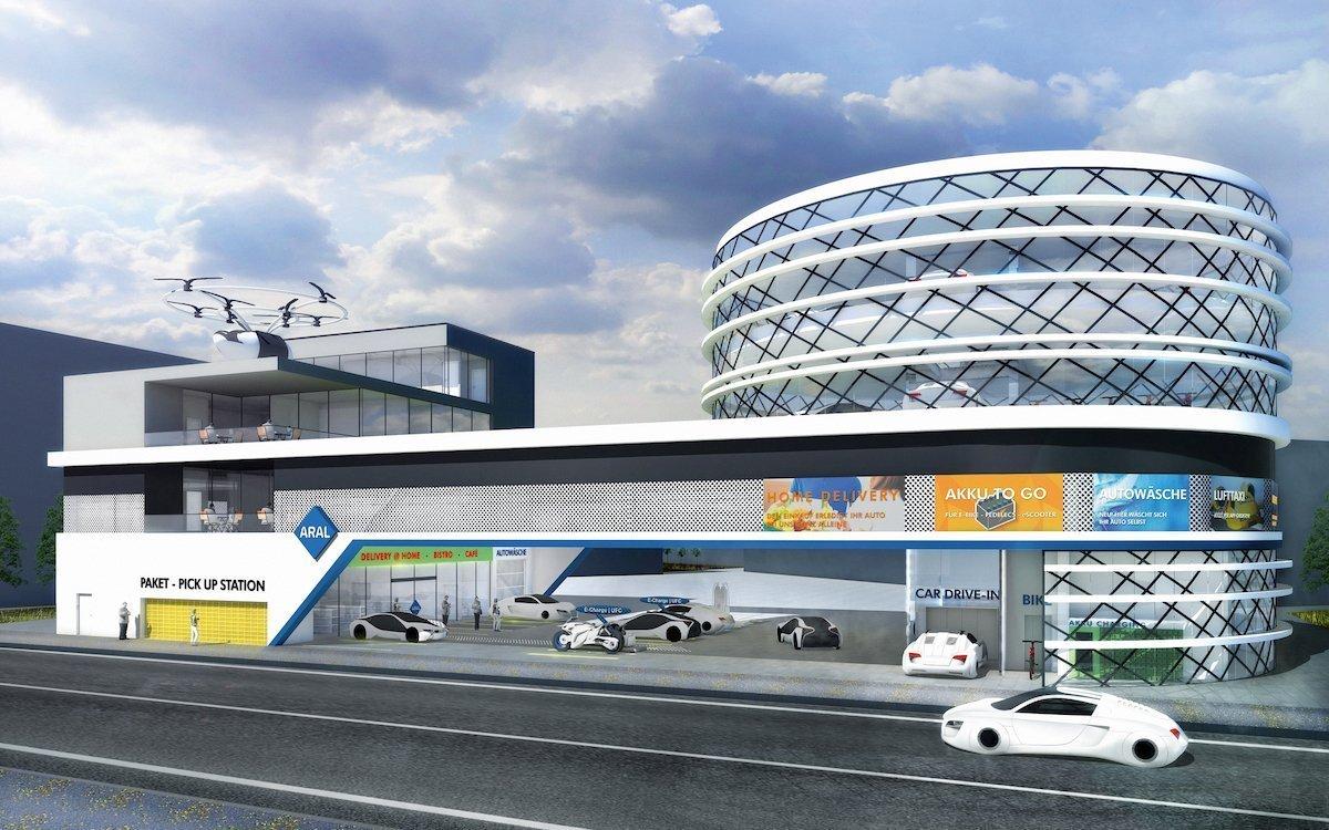 Lufttaxen, E-Mobilität und Konferenzräume zum Mieten: So sehen Forscher die Tankstelle der Zukunft (Grafik: Aral)