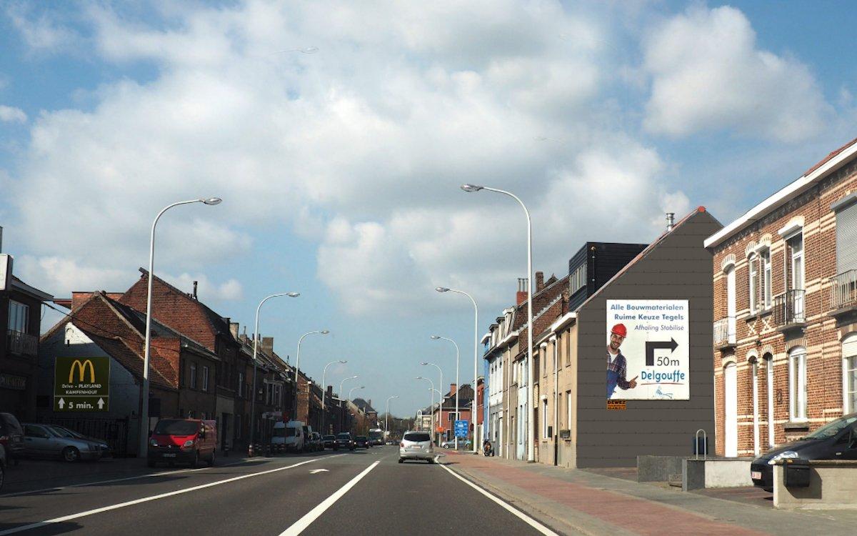 Plakat von Dewez auf einer Hauswand in Belgien (Foto: Publiroute)