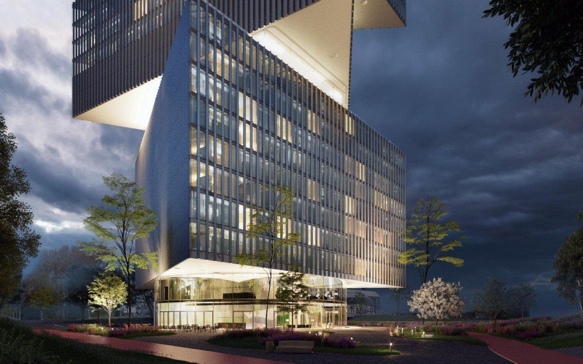 Projection Mapping auf die Fassade des nhow Hotels an der RAI Messe (Foto: nhow)