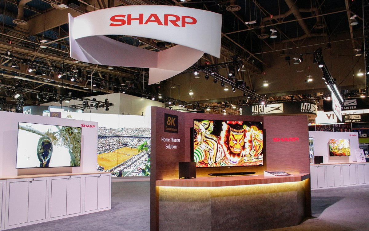 Sharp 8k-Ökoystem auf der CES (Foto: Sharp)