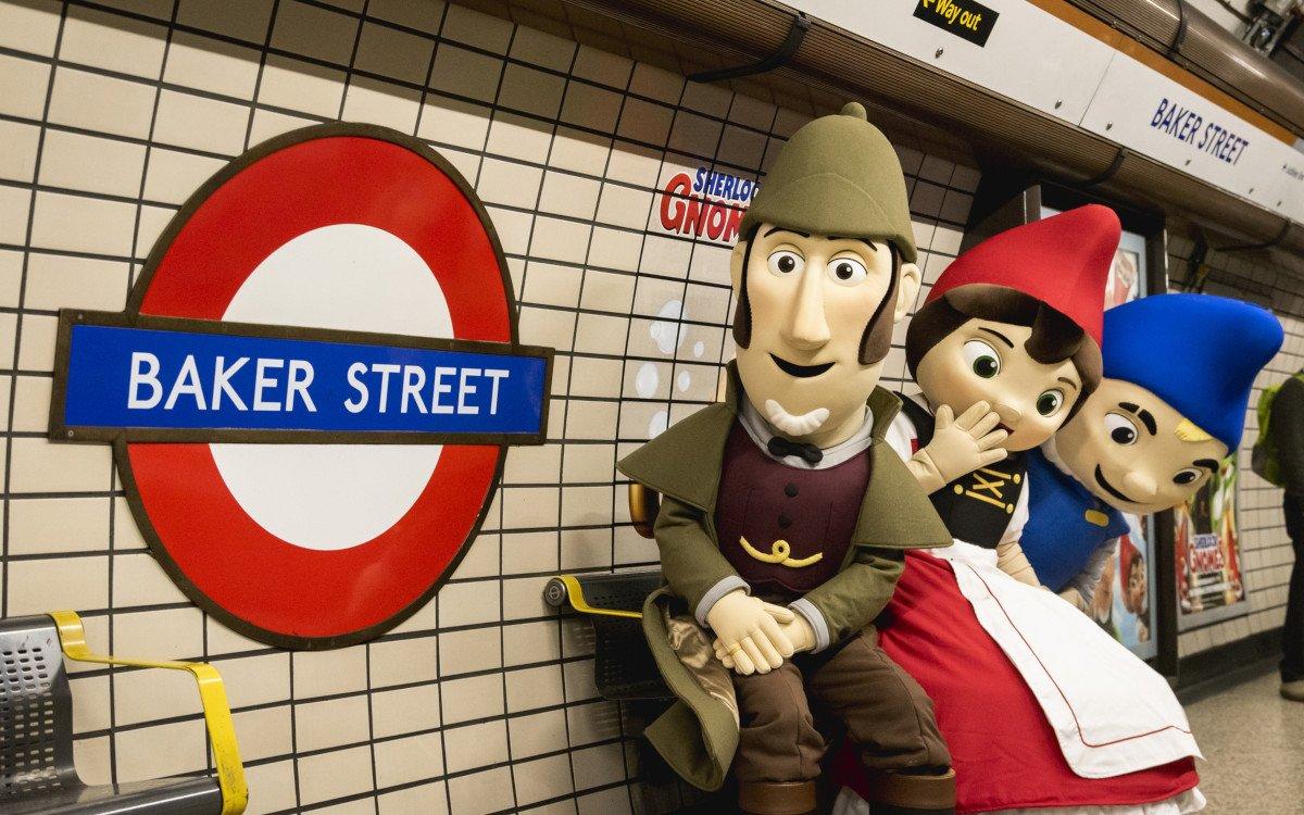 Kampagne für Sherlock Gnomes in der Tuber (Foto: TfL)