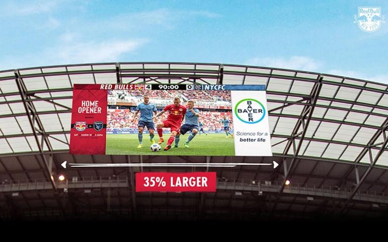 Das Stadion der New York Red Bulls wurde mit 2 neuen LED Screens ausgestattet (Foto: Daktronics)
