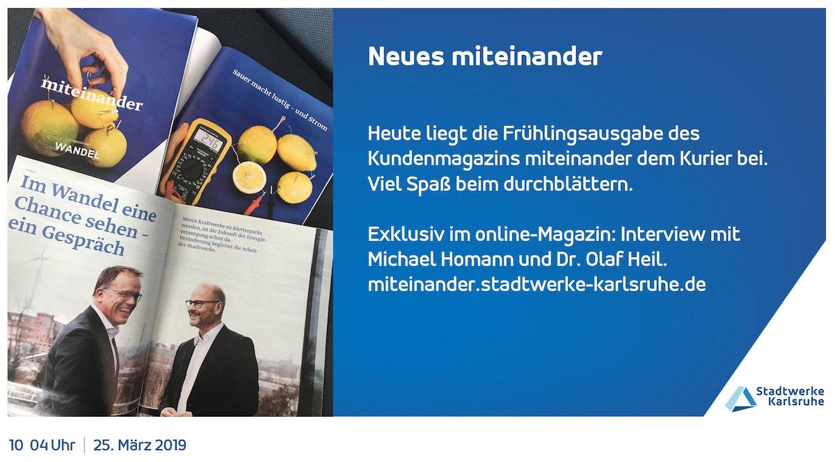 Auch die Mitarbeiterzeitschrift wird auf den Screens beworben (Foto: Stadtwerke Karlsruhe)