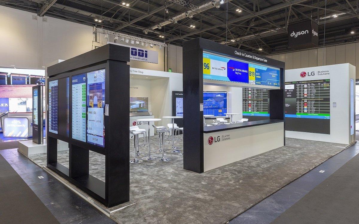 Auf der PTE 2019 in London zeigt LG seine Lösungen für Airports (Foto: LG)