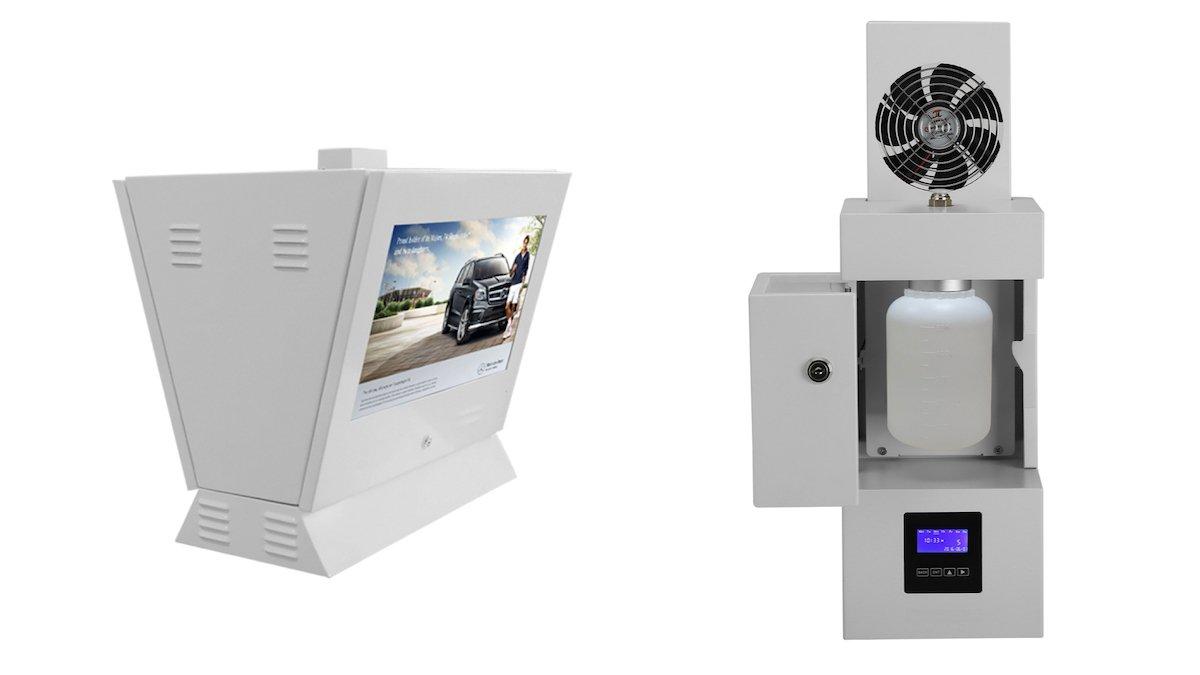 Aufbau der kombinierten Lösung aus Screen und Aromaduft-System (Fotos: TNS Ltd.)