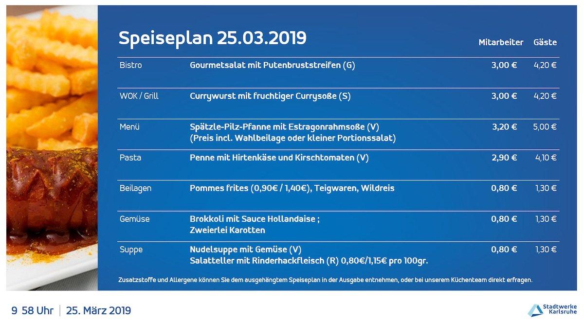 Der aktuelle Speiseplan kann auf den Screens schnell eingesehen werden (Foto: Stadtwerke Karlsruhe)
