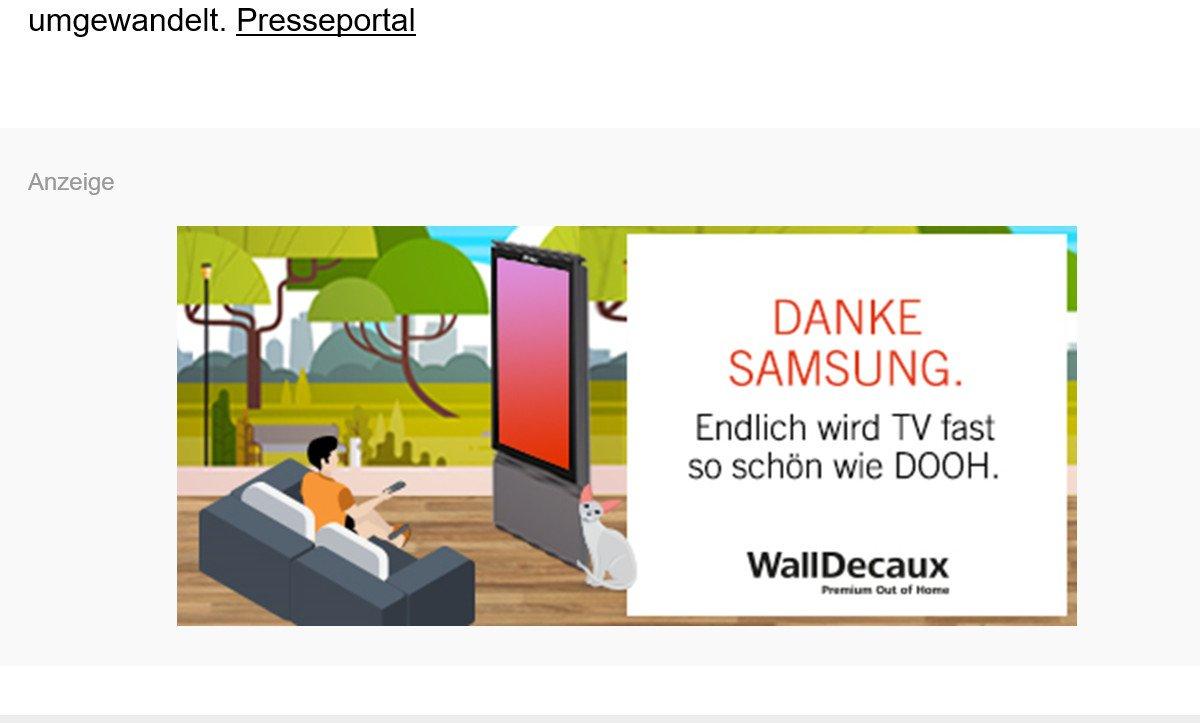 WallDecaux Anzeige (Foto: Screenshot W&V Newsletter)