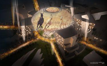 Insgesamt 250 Projektoren werden die Kuppel des Al Wasl Plaza in Szene setzen (Foto / Rendering: Adrian Smith + Gordon Gill Architecture)