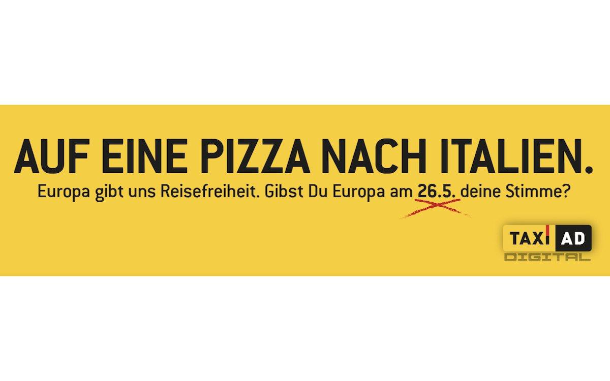 Motiv aus der Kampagne zur Teilnahme an der Europawahl (Grafik: TAXi-AD)