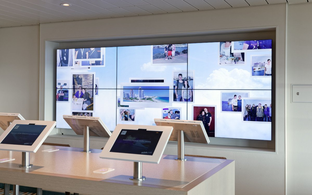 Videowall 3 x 2 ohne Touchfunktion dient im Foto-Shop (Foto: ASC)