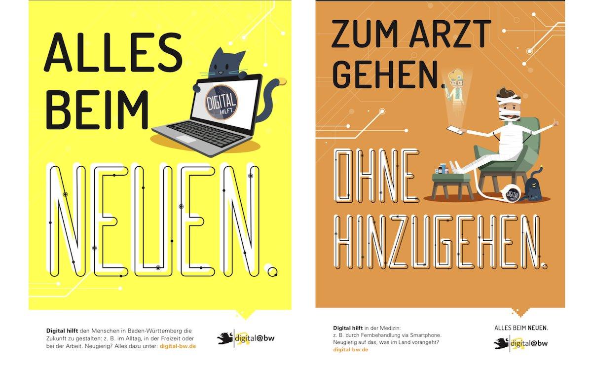 Zwei Motive der Kampagne zum Thema Digitalisierung (Grafik: Land Baden-Württemberg)