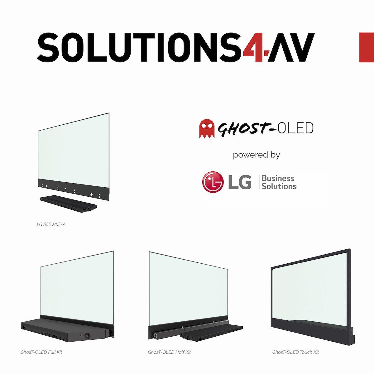 Transparent Screen LG 55EW5F-A und die 3 neuen Varianten (Grafik: Lang AG)
