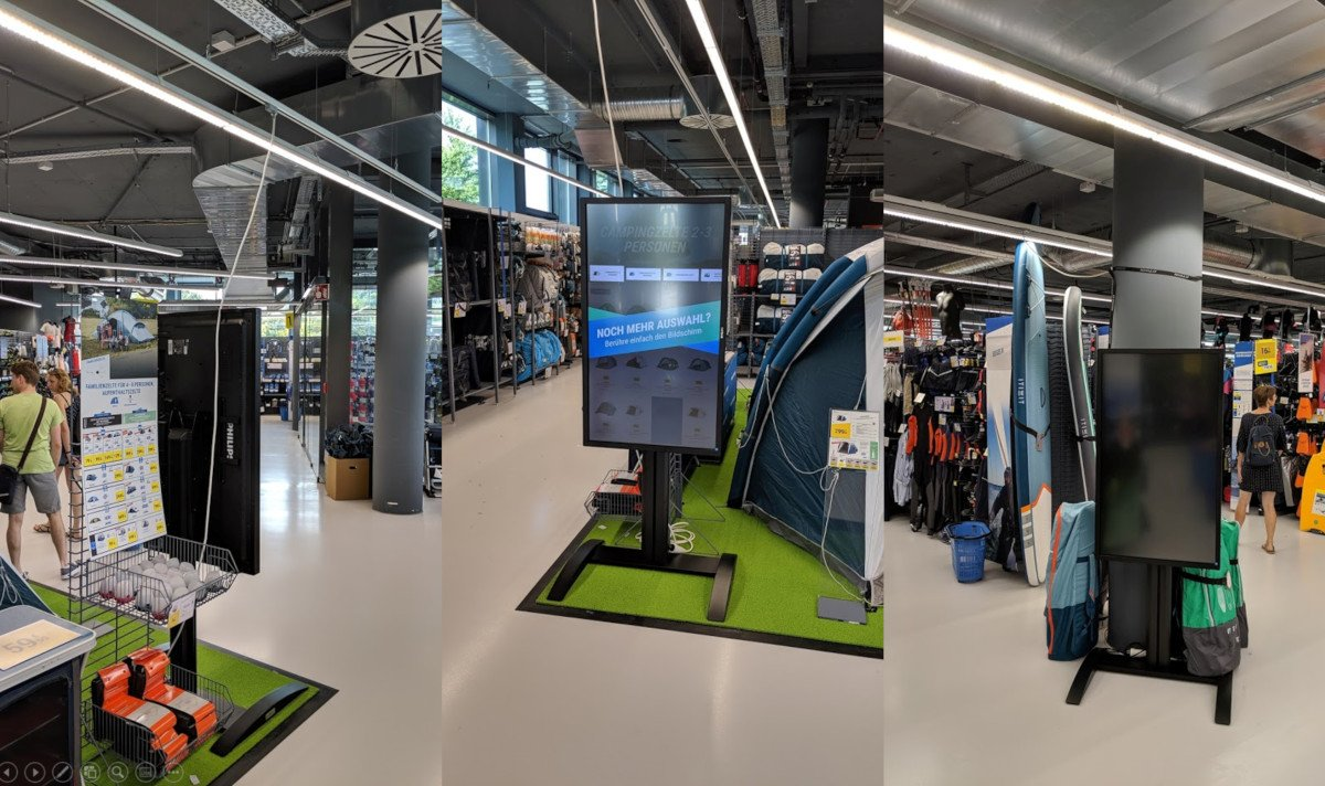 Digital Signage mit Discount Installation bei Decathlon Mona in München (Foto: invidis)