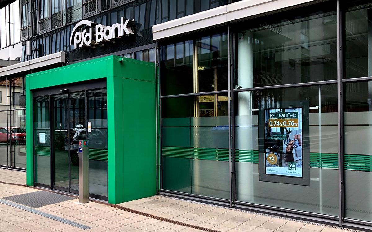 Die PSD Bank Nürnberg setzt jetzt auf Digital Signage (Foto: Videro)