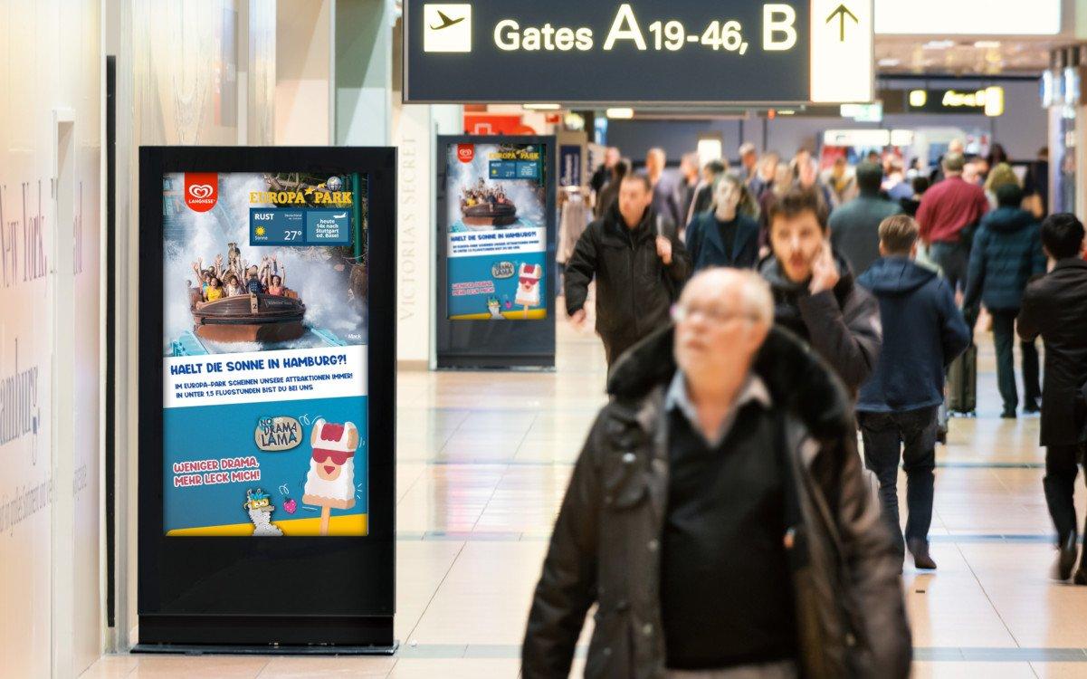 Voll programmtische DooH-Kampagne vom Europa Park Rust (Foto: Goldbach)