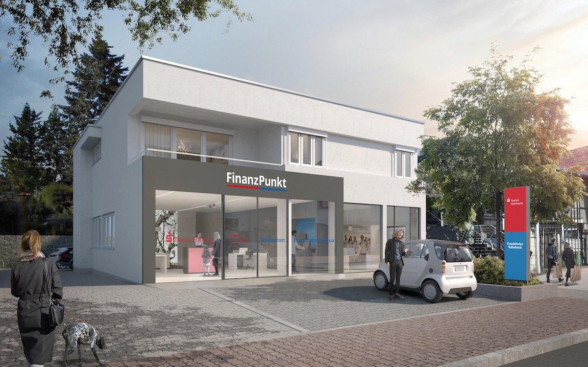 Aussenansicht eines der geplanten FinanzPunkte (Rendering: Taunus Sparkasse / Frankfurter Volksbank / Holger Meyer Architektur)