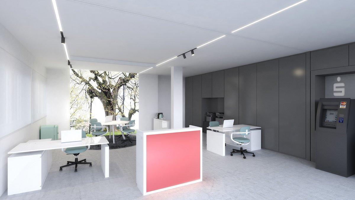 …und morgen eine Sparkasse (Rendering: Taunus Sparkasse / Frankfurter Volksbank / Holger Meyer Architektur)
